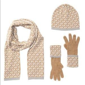 MMK Michael Michael Kors Hat Glove Scarf Set Camel